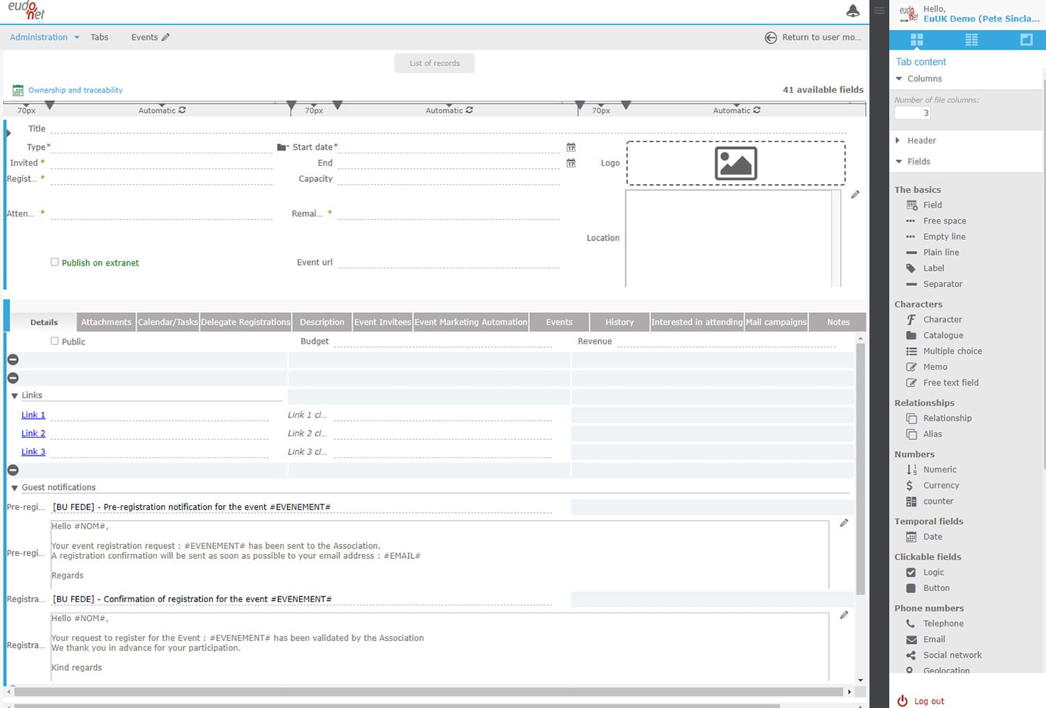 Administration interface CRM