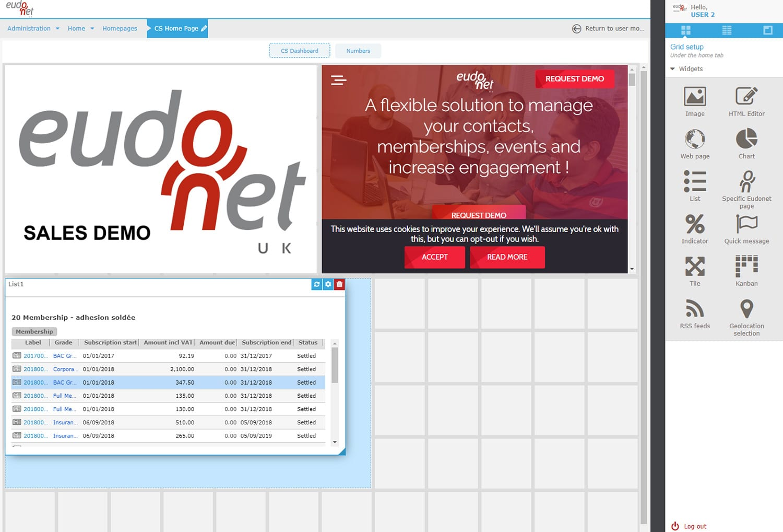 Administration tool Widget