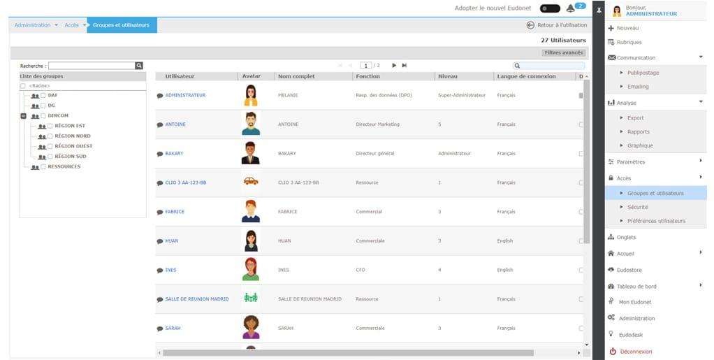 Utilisateurs console administration