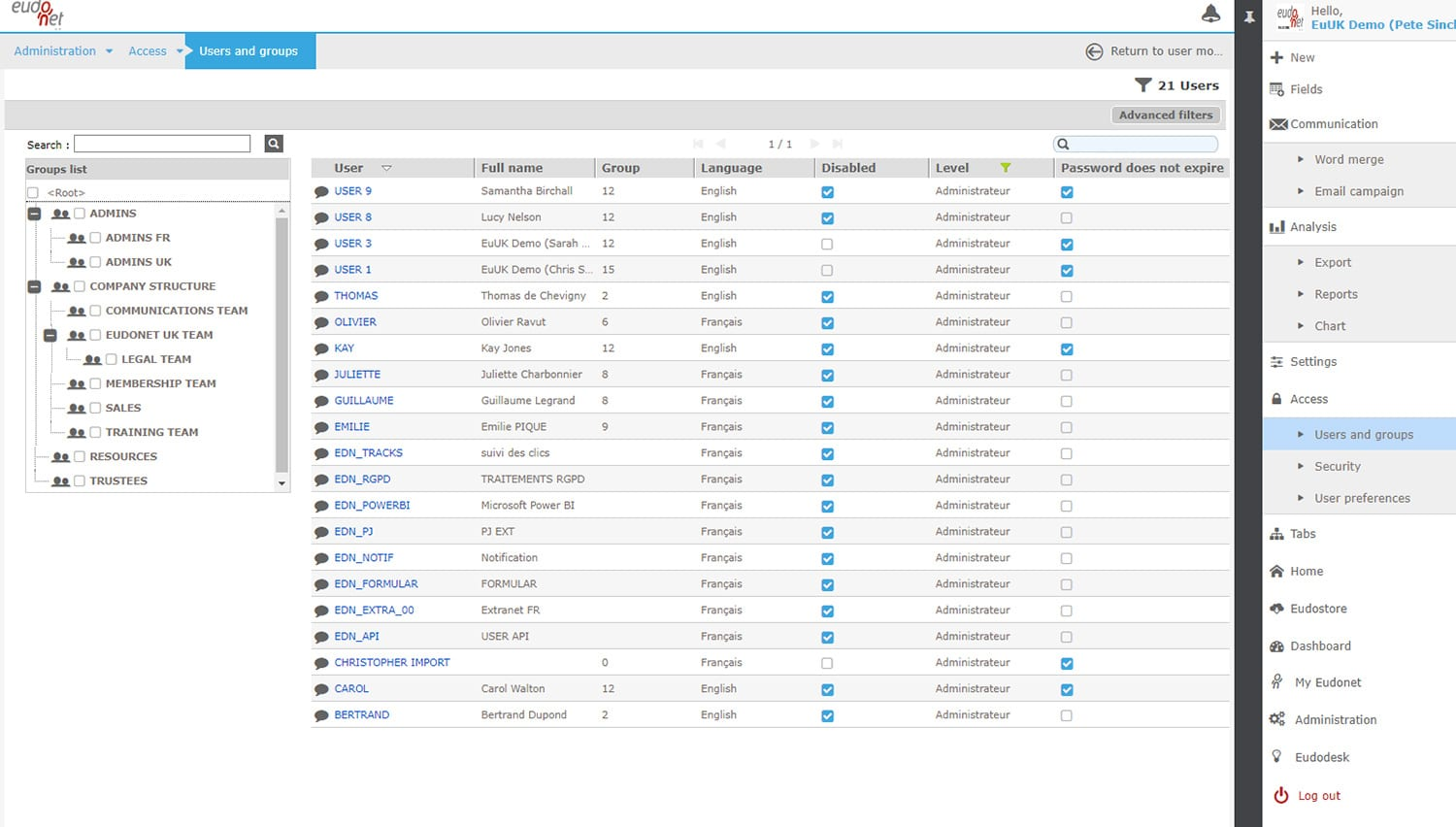 Users Administration tool CRM